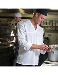 "Camisa de cocinero Denny's 100% algodón manga larga ligera - Blanco, XL pecho 48-50"""