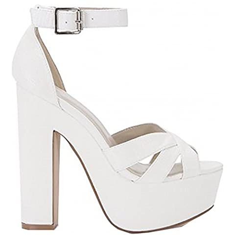 Ladies Womens White Barely There Strappy Sandals Ankle Strap Cuff Platforms Peep Toes High Heels 3-8 UK6/EURO39/AUS7/USA8