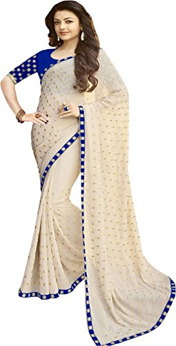 Voolka Women's Georgette Embroidered Saree with Blouse Piece - Beige