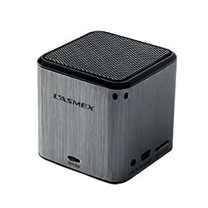 Lasmex Portable Lautsprecher (USB, Micro SD/TF, Li-Ion Battery) silber