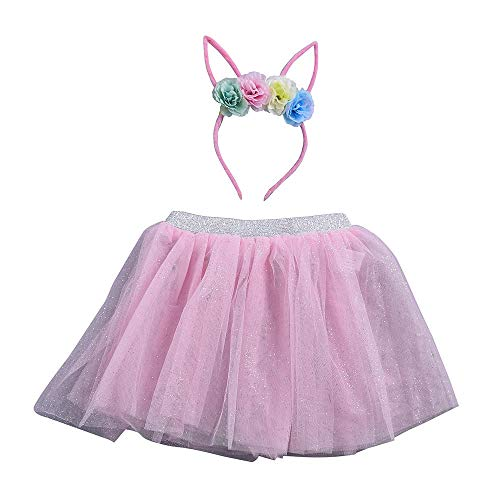 (Yvelands Baby Mädchen Kinder Weihnachten Tutu Ballett Röcke Fancy Party Rock + Stirnband Set(S(3-4T),Rosa))