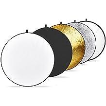 """Neewer 5 in 1 - Riflettore pieghevole rotondo portatile multi luce, 60 cm / 22"""", Traslucido/Argento/Oro/Bianco/Nero"""