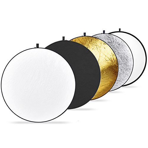 Neewer Réflecteur de lumière 5 en 1 - Blanc translucide, pliable, pour prendre des photos ou enregistrer des vidéos en studio - 110cm - Noir, doré, argent, blanc