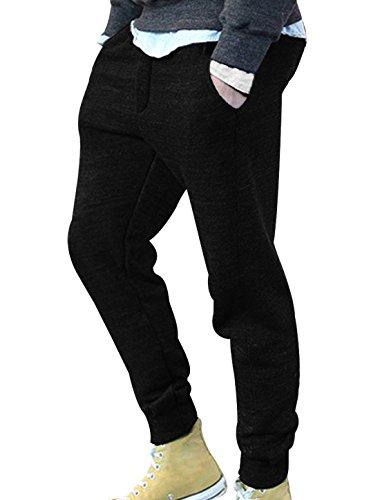 Hommes Taille Élastique Braguette Zip Poches En Biais Front Épais Pantalons Sports Noir