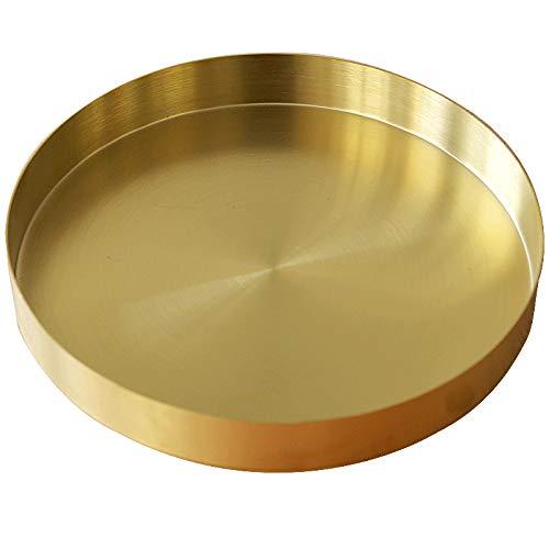 Rundes Tablett aus Edelstahl Serviertablett Goldfarben Schmuck- und Make-up-Organizer/Kerzenteller Gold 22 cm Gold-tablett