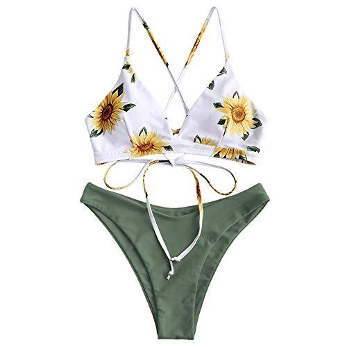 ZAFUL Damen Sexy Sonnenblume Drucken Schnüren Criss Cross Hoher Schnitt Bikini Set Badeanzug (S, GRÜN) -