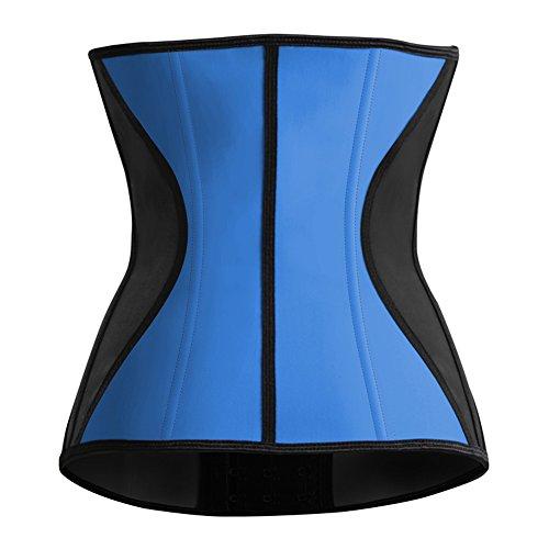 Feelingirl Corsetto da donna in lattice, con 9 stecchein acciaio, contenitivo, traspirante Blu