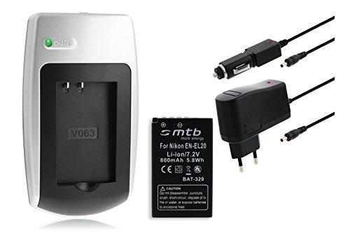 Ladegerät + Akku EN-EL20 für Nikon 1 AW1, 1 J1, 1 J2, 1 J3, 1 S1, Coolpix A