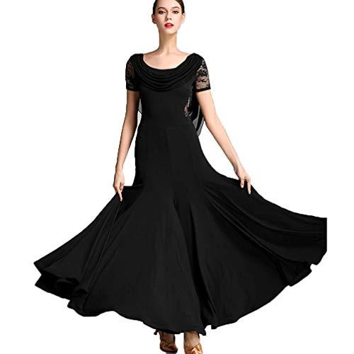 High End Kostüm Tanz - Professionelle Nationale Standard-Tanzkleider für Damen Mode Spitze Kurze Ärmel Elastische Stretch Tango Walzer Ballsaal Salsa Kleid Tanzbekleidung,Black,XXL