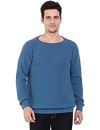 TAB91 Men's Cotton Rich Blue Solid Round Neck Pullover