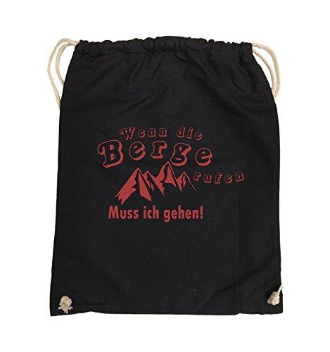Comedy Bags - Wenn die Berge rufen - BERGE - Turnbeutel - 37x46cm - Farbe: Schwarz / Silber Schwarz / Rot
