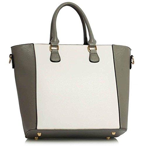 TrendStar Damen Stilvolle Berühmtenart Padlock Tote Handtasche Frauen-Designer-Umhängetasche Grau/Weiß