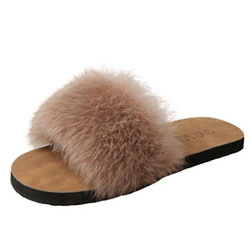 Estivi Sandali Donna,Witsaye Eleganti Donna Pantofole Fiori Scarpe Ciabatte Pantofole da Spiaggia Ragazze Infradito (37, marrone)