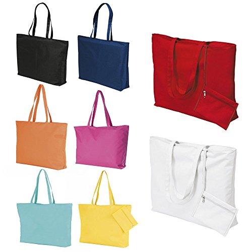Grand sac de plage et porte-monnaie attaché pour femme - Blanc - blanc, Rouge