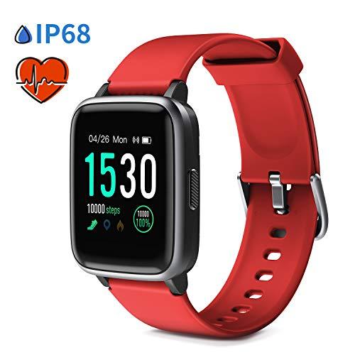 """Glymnis Smartwatch Smart Uhr Sport Uhr Fitness Armband mit Schrittzähler Schlafanalyse Touchscreen 50 M Wasserdicht Armbanduhr 30 Tage Standby 1,3\""""großer Bildschirm für Android iOS (Rot)"""