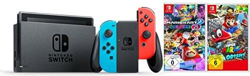 Nintendo Switch Konsole Neon-Rot/Neon-Blau  + Mario Kart 8 Deluxe + Super Mario Odyssey