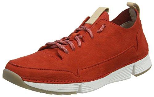 Clarks Herren Tri Spark Sneaker, Rot (Red Nubuck), 42.5 EU Red Nubuck Schuhe