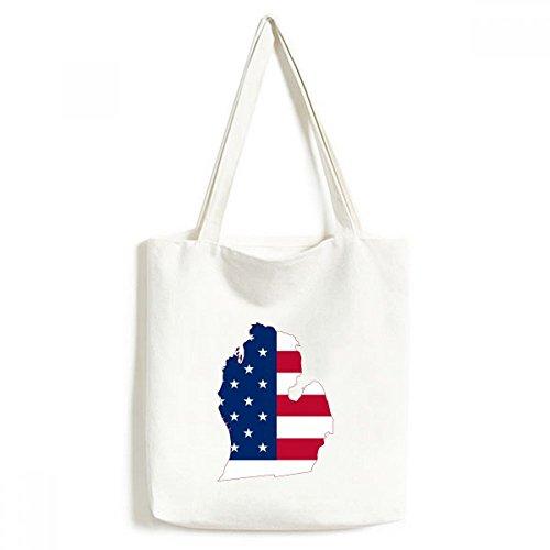 DIYthinker Die Vereinigten Staaten von Amerika USA Michigan Karte Stars and Stripes Flagge Form Umwelt Waschbar Einkaufs-Tasche Fertigkeit-Geschenk 33 * 40cm Mehrfarbig -