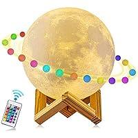Lámpara Luna, 16 colores 15cm 3D Print LED Moon Light Control remoto sin escalonamiento RGB mesa lámpara de cabecera con montaje de madera [Clase de eficiencia energética A+++]