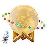 AFBEST 3D Mond Licht 15cm LED Nachttischlampe, Mond Lampe mit Touch Control &USB Wiederaufladbare &Anpassbare Helligkeit und 16 Farbe ,beste Licht für Kinderzimmer und Romantisch Licht Geschenk