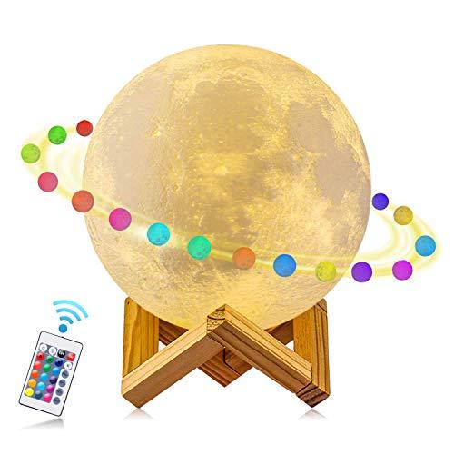 AFBEST 3D Mond Licht 15cm LED Nachttischlampe, Mond Lampe mit Touch Control &USB Wiederaufladbare &Anpassbare Helligkeit und 16 Farbe ,beste Licht für Kinderzimmer und Romantisch Licht - Tippen Led-licht