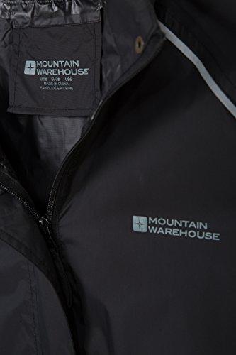 Mountain Warehouse Giacca Impermeabile da Donna Pakka - Traspirante, con Profilo Riflettente Nero
