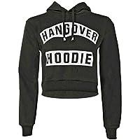 Womens Ladies Hangover Hoodie Print Pull Over Hoodie Sweatshirt Crop Top UK 8-14