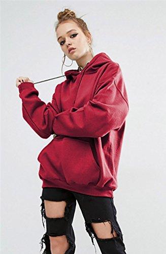 YouPue Mode Manteau De Style Moyen Encapuchonné SweatShirt Femmes Blouse à Manches Longues Overs Sweatshirt Vin