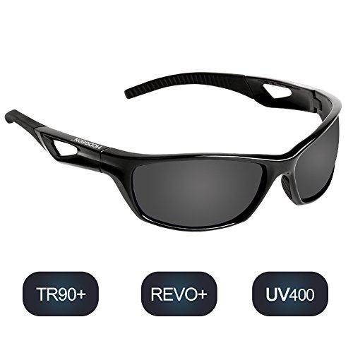 hodsgon Polarisierte Sportbrille Sonnenbrille Fahrradbrille mit UV400 Schutz für Damen und Herren Autofahren Laufen Radfahren Angeln Golf TR90 (Black/Gray)