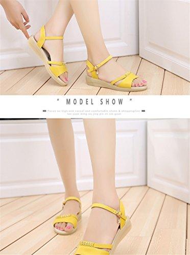 MeiMei Sandalias Femeninas De La Versión Coreana De Cuero Flat-Bottomed Suaves, Corbata Ranurados De Desgaste Exterior Antideslizante