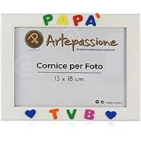 Cornici per foto in legno con la scritta Papà TVB e decorata con cuoricini, da appoggiare o appendere, misura 13x18 cm Bianca. Ideale per regalo e ricordo.