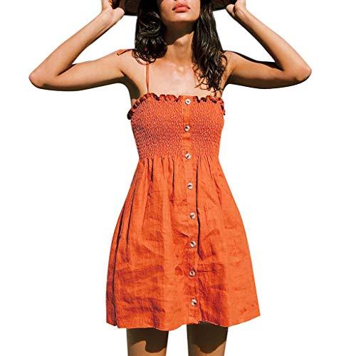 Toamen minigonna in tinta unita nuova primavera estate 2019 le donne sexy delle signore di modo di colore solido legano i bottoni il vestito casuale dalla spiaggia tracolla(arancia,l)