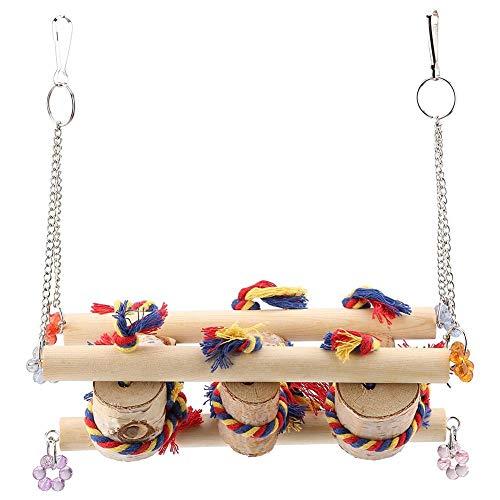 Pappagallo altalena giocattoli, gabbia per uccelli da compagnia naturale legno appeso gabbia giocattolo posatoio da masticare per macaw africano Grays pappagallini cacatua parrocchetto cockatiel picci
