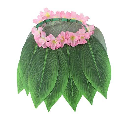 Wetour Hawaiian Party Hula Rock Kostüm Blatt Gras Rock Mit Rosa Blume Für Strandparty - (Hula Girl Kostüm Frauen)