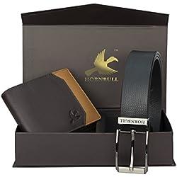 Hornbull Men's Black Wallet and Belt Combo BW9355