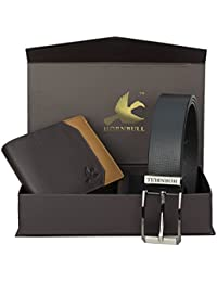 Hornbull Men's Black Wallet and Belt Combo BW9355
