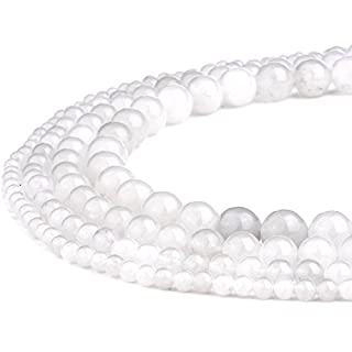 RUBYCA Wholesale Natural White Jade Gemstone Round Loose Beads for Jewelry Making 1 Strand - 4mm