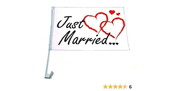 12 X Autofahnen Autofahne Just Married 46 X 30 Cm Hochzeit Love Auto Fahne Küche Haushalt
