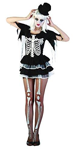 Bristol Novelty AC353 Skelett Damen Kostum, Mehrfarbig, UK 10-14