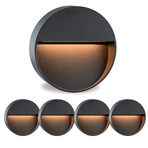 5 Stück Runde LED Treppenspots Wandlampe MORAVA für den Aufbau (Aufputz) IP54 innen & außen verwendbar mit 2W in warmweiß