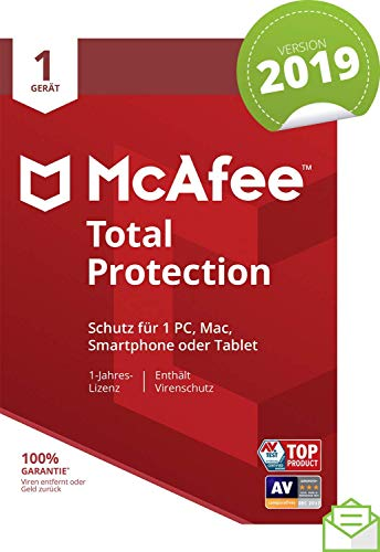 McAfee Total Protection 2019 | 1 Gerät | 1 Jahr | PC/Mac/Smartphone/Tablet | Aktivierungscode per Post