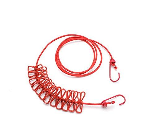 Kleidung Trocknen Racks (AZbao Portable 12Clips Trocknen Seil Trocknen Rack Wäscheklammern Travel Kleidung Haken rot)