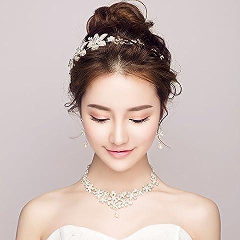 La mariée bandeau coiffe costume trois pièces,Accessoires cheveux Bijoux de mariage collier boucles d'Tiara