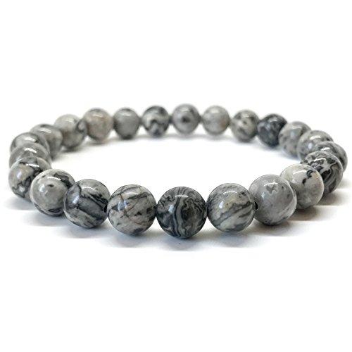 Perlen-Armband aus 8 mm Meeressediment Jaspis-Natursteinen, Edelstein-Armband aus Jade (Grau) (Armbänder Perlen)
