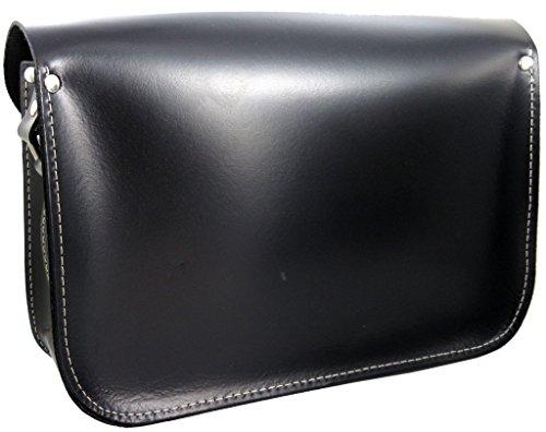 Realizzato a mano da artigiani in Spagna - Vera Pelle di alta qualità - Scuola Satchel / Satchel Bag / Borsa a tracolla / Borsa a cartella donna Nero - Compatto: 24 x 17 x 10cm