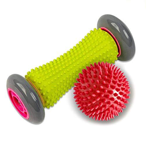 newthinking Fuß Massagegerät Roller & SPIKY Bälle, Fuß Massage Roller Ball - Handgelenke und Unterarme Übungs Roller (grau/rot Ball) (übung Cover Ball)