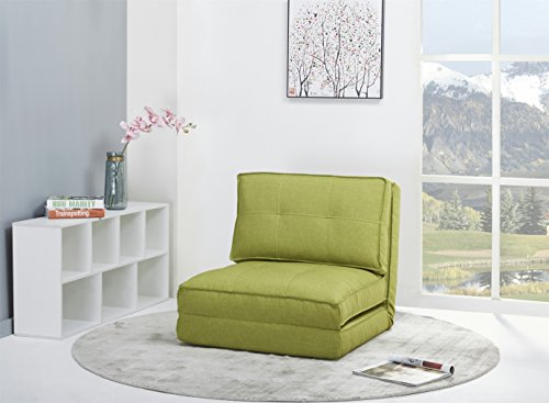 ARTDECO Schlafsessel Gästebett Jugendsessel Bettsessel (Stoffbezug grün groß)
