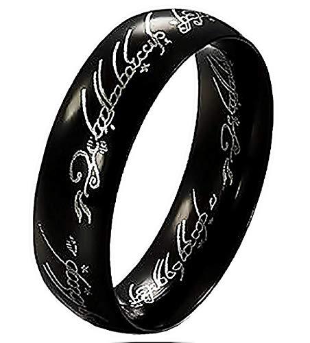 Inception Pro Infinite Anello Lord of The Rings con Scritta Interna Ed Esterna - Idea Regalo Nero (IT 22)