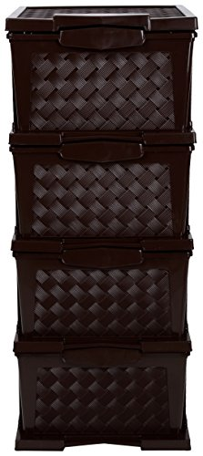 Regalo Plastic Modular 4 Drawer Set (63 cm x 33 cm x 23 cm, Brown)