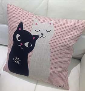 Parure de lit à fermeture éclair-mr mrs & chat kissenabdeckung canapé coussin 45 x 45 cm